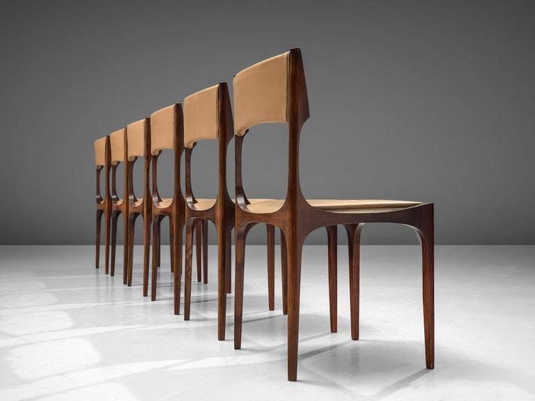 Italian Set of Six Giuseppe Gibelli 'Beatrice' Dining Chairs For Sale