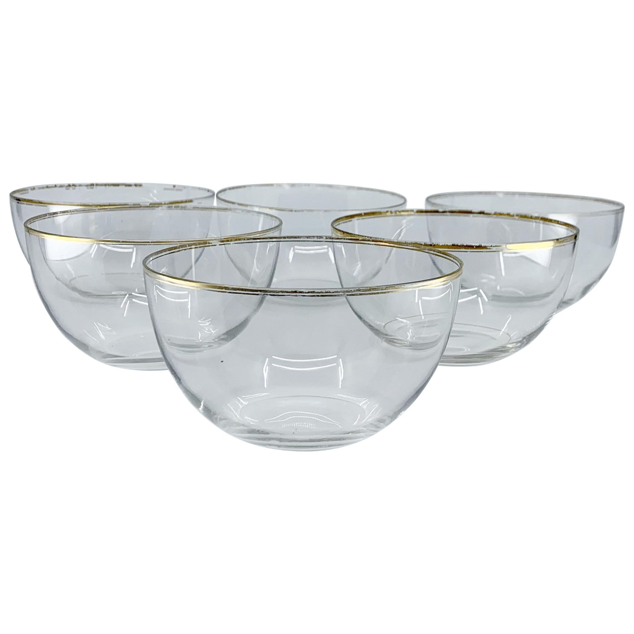 Set of Six Glass Bowls with Gilt Rim