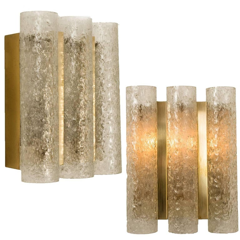 Set of Six Glass Brass Light Fixtures by Doria, Germany, 1960s In Good Condition For Sale In Rijssen, NL