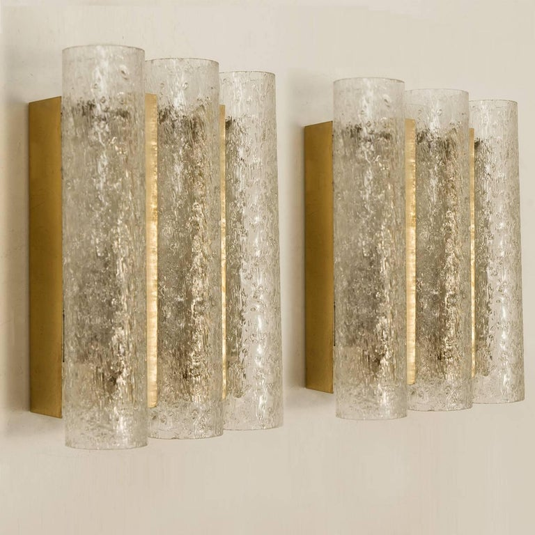 20th Century Set of Six Glass Brass Light Fixtures by Doria, Germany, 1960s For Sale