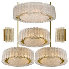 Set of Six Glass Brass Light Fixtures by Doria, Germany, 1960s