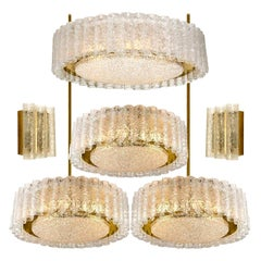 Set of Six Glass Brass Light Fixtures by Doria, Germany, 1960s