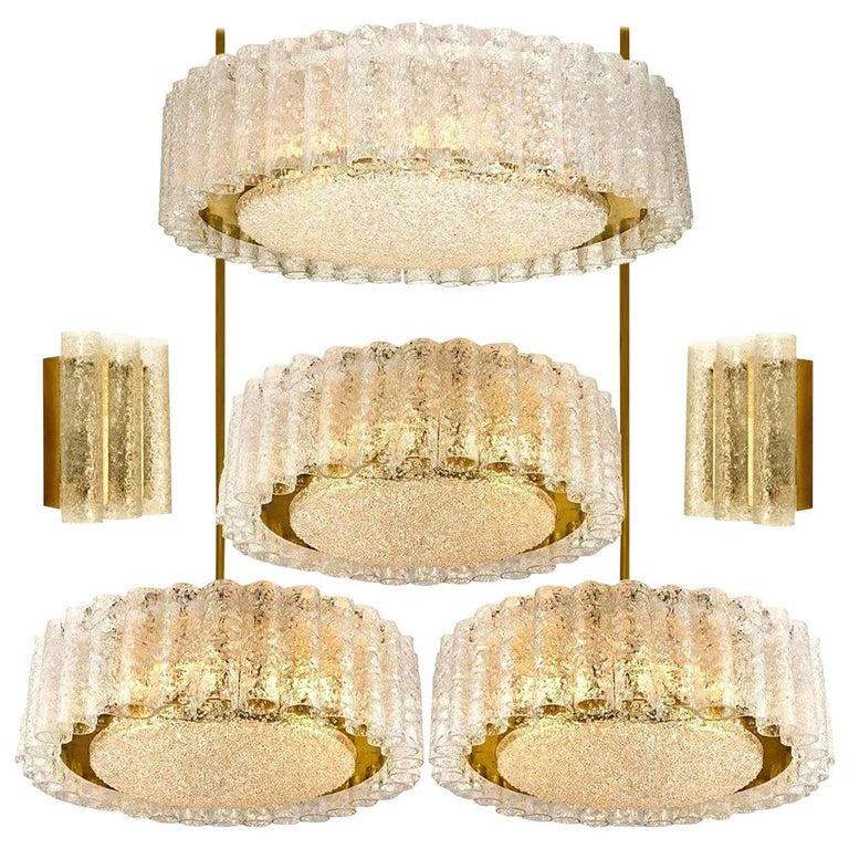 Set of Six Glass Brass Light Fixtures by Doria, Germany, 1960s For Sale