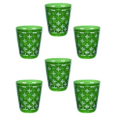 Set of Six Glass Country Style Tumbler Green Crystal Sofina Boutique Kitzbuehel