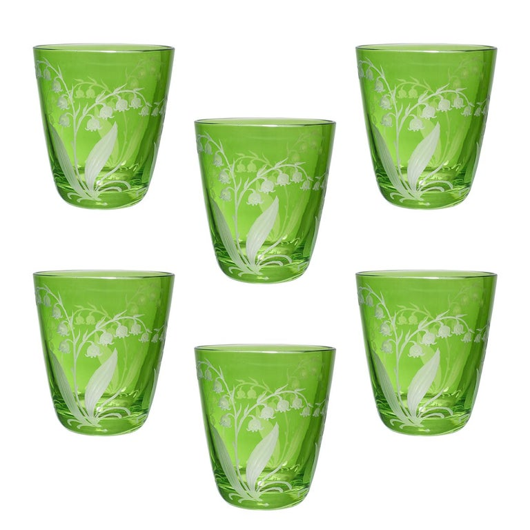 Hand-Crafted Set of Six Glass Country Style Tumbler Pink Crystal Sofina Boutique Kitzbuehel For Sale