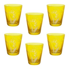 Set of Six Glass Country Style Tumbler Yellow Crystal Sofina Boutique Kitzbuehel