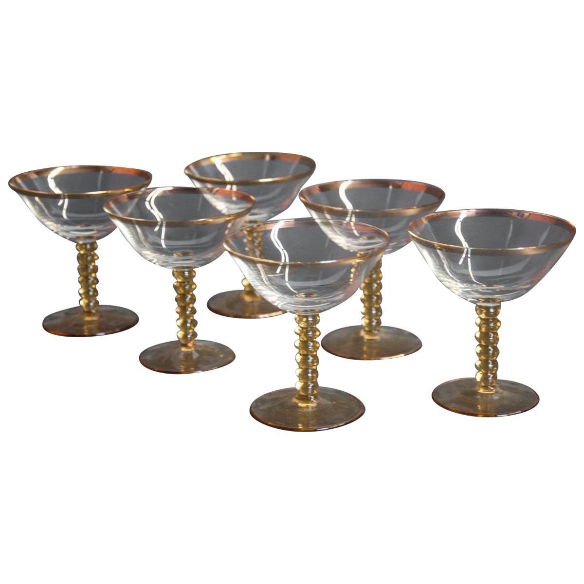 Set of Six Glass Midcentury Glasses