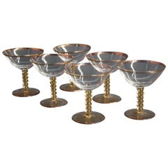 Set of Six Glass Midcentury Glasses