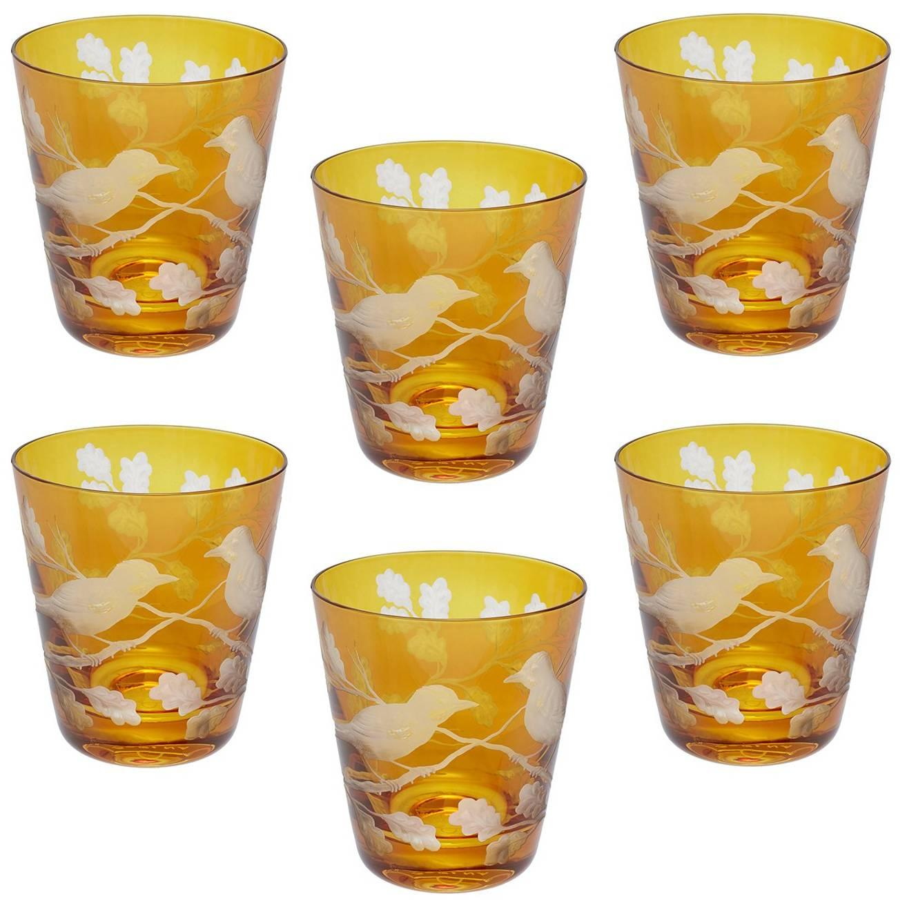 Country Style Set of Six Glass Tumbler Amber Sofina Kitzbuehel Kitzbühel