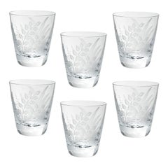 Set of Six Glass Tumbler Clear Crystal with Fern Decor Sofina Kitzbuehel