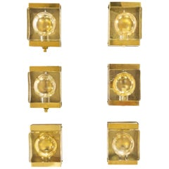 Set of Six Gold Colored Maritim Wall Lamps by Vitrika, 1970s