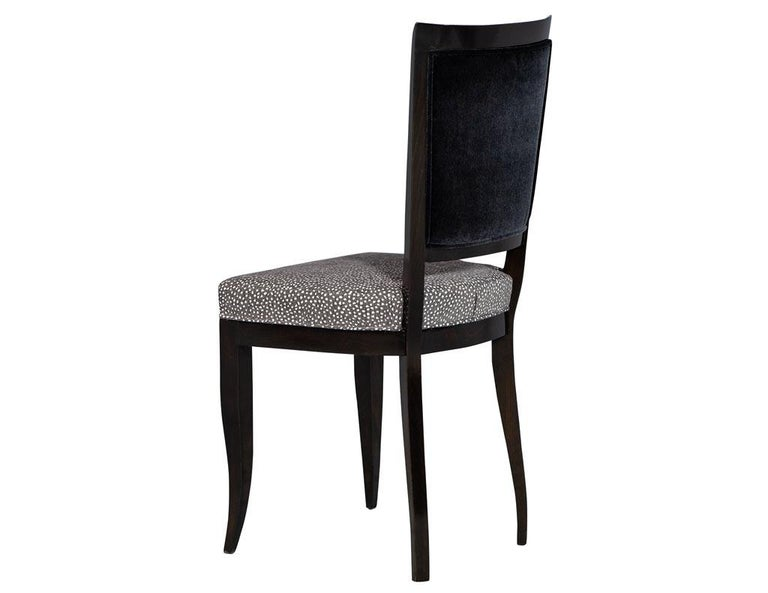 Upholstery Set of Six Graphic Art Deco Dining Chairs