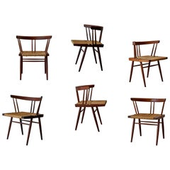 Set of Six Grass Seated Chairs by George Nakashima