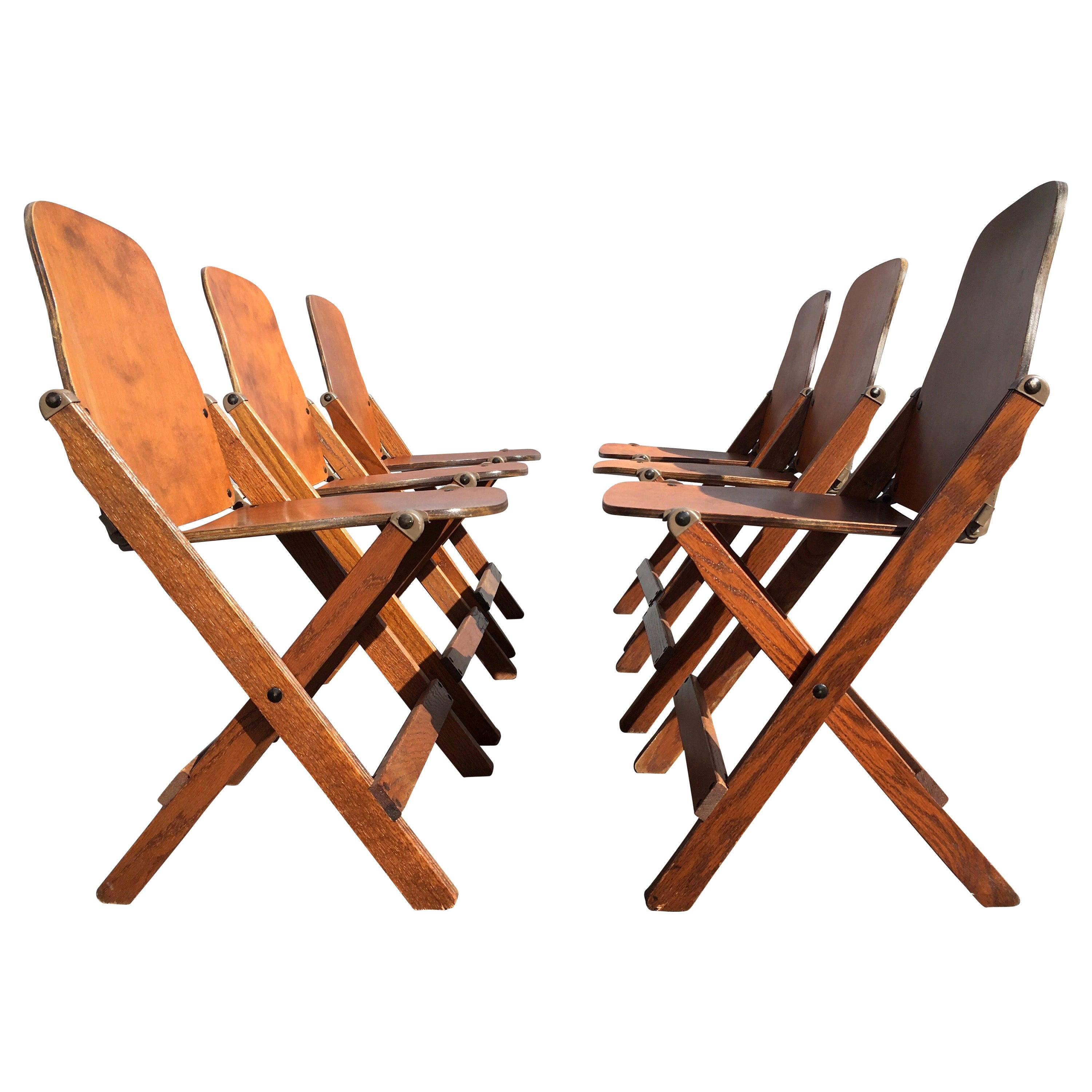 Set of Six Great Vintage Wood Folding Chairs