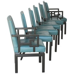Set of Six Greek Key Turquoise Leather Ebonized Far East Baker Dining Chairs