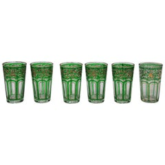 Set of Six Green Glasses with Gold Raised Moorish Design