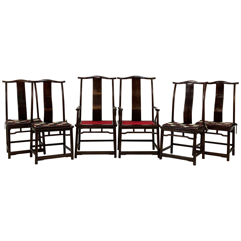 Set of Six Guanmaoyi Yokeback Dining Chairs, circa 1960s