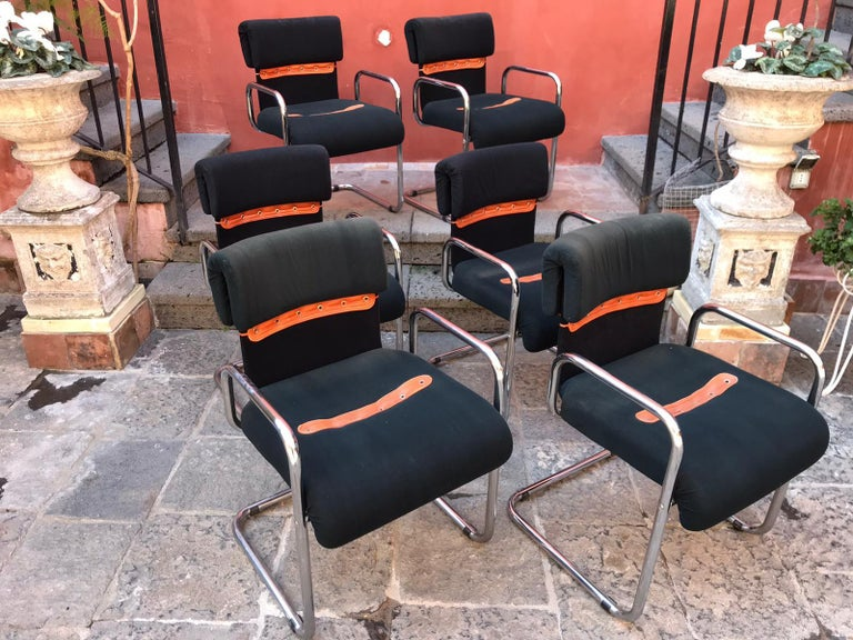 Set of Six Guido Faleschini Tucroma Italian Chairs Vintage Mid-Century For Sale 1