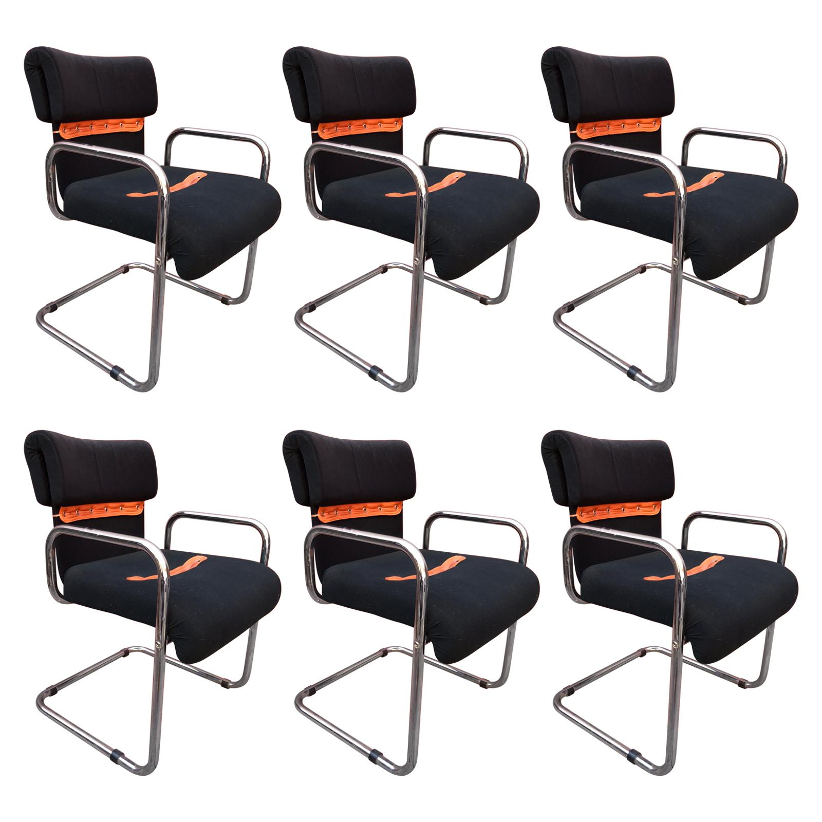 Set of Six Tucroma Italian Chairs Designed by Guido Faleschini for Mariani