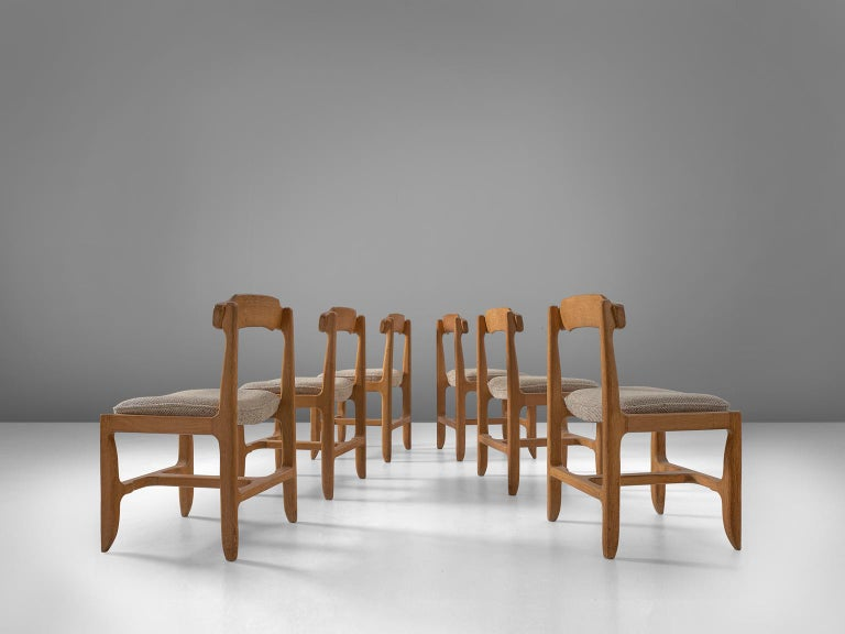 Dining chairs, solid oak, grey upholstery, France, 1960s.