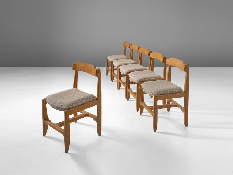 Art Deco Set of Six Guillerme et Chambron Dining Chairs in Solid Oak For Sale