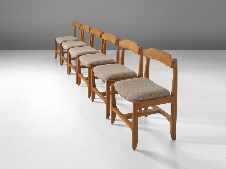 French Set of Six Guillerme et Chambron Dining Chairs in Solid Oak For Sale