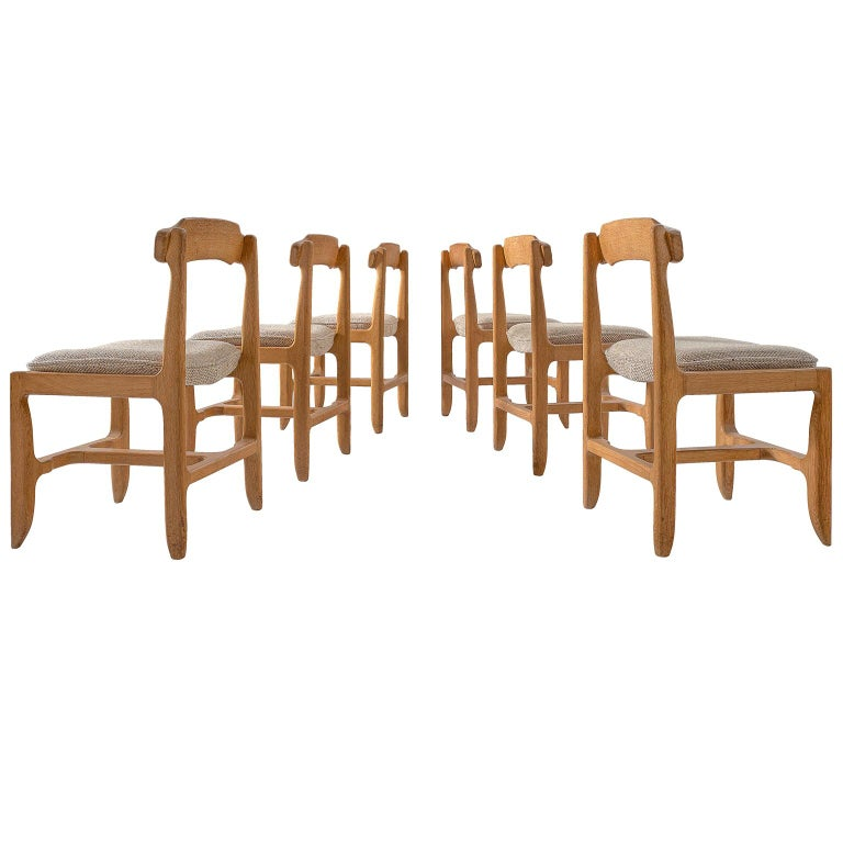 Set of Six Guillerme et Chambron Dining Chairs in Solid Oak For Sale
