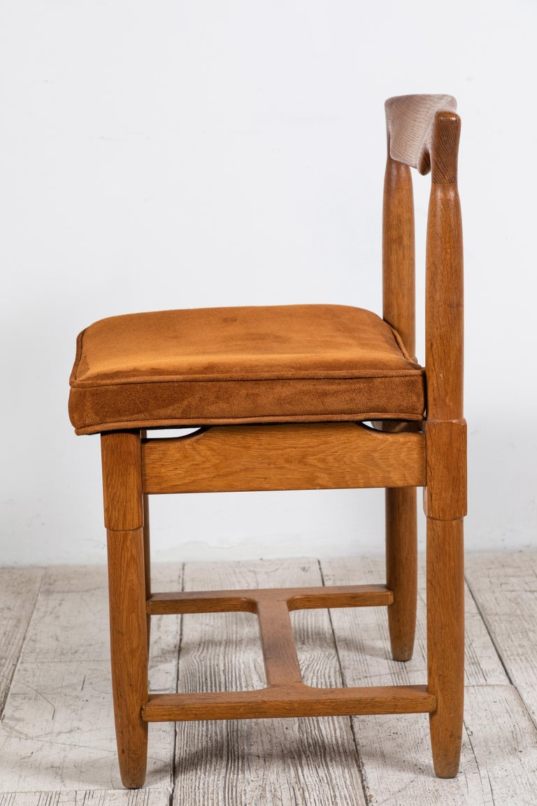 Set of Six Guillerme et Chambron Dining Chairs Upholstered in Rust Suede In Good Condition For Sale In Los Angeles, CA