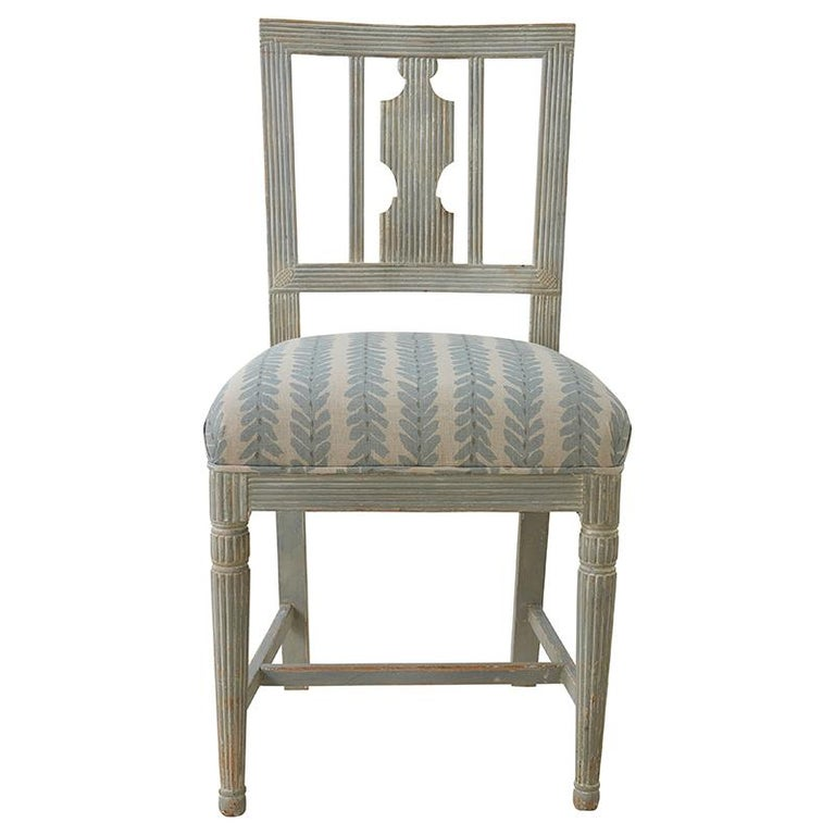 This set of six 1870s Gustavian chairs from Stockholm with original paint are upholstered in Schumacher Woodperry fabric.   Since Schumacher was founded in 1889, our family-owned company has been synonymous with style, taste, and innovation. A