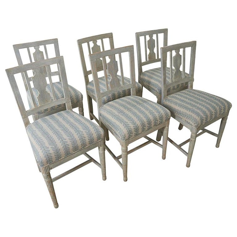 Set of Six Gustavian Chairs from Stockholm, Circa 1870 For Sale