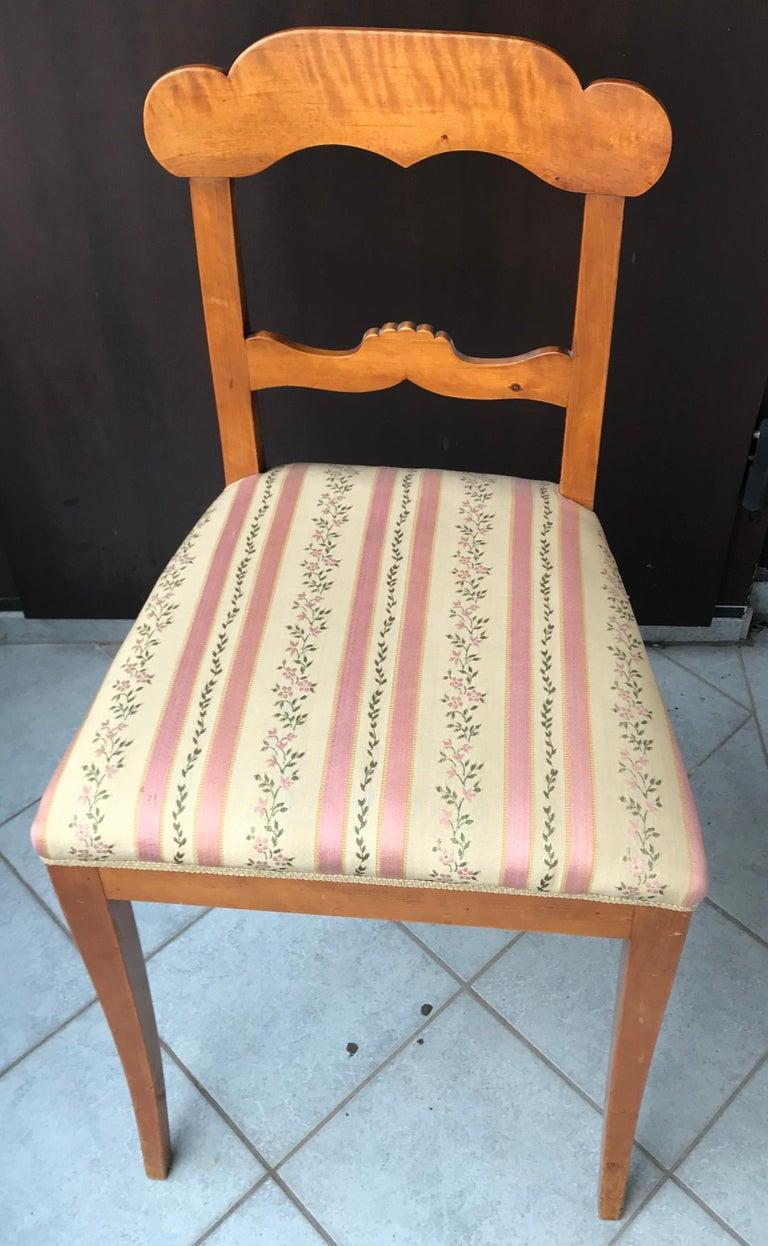 Veneer Set of Six Gustavian Chairs, Sweden, 1830 For Sale