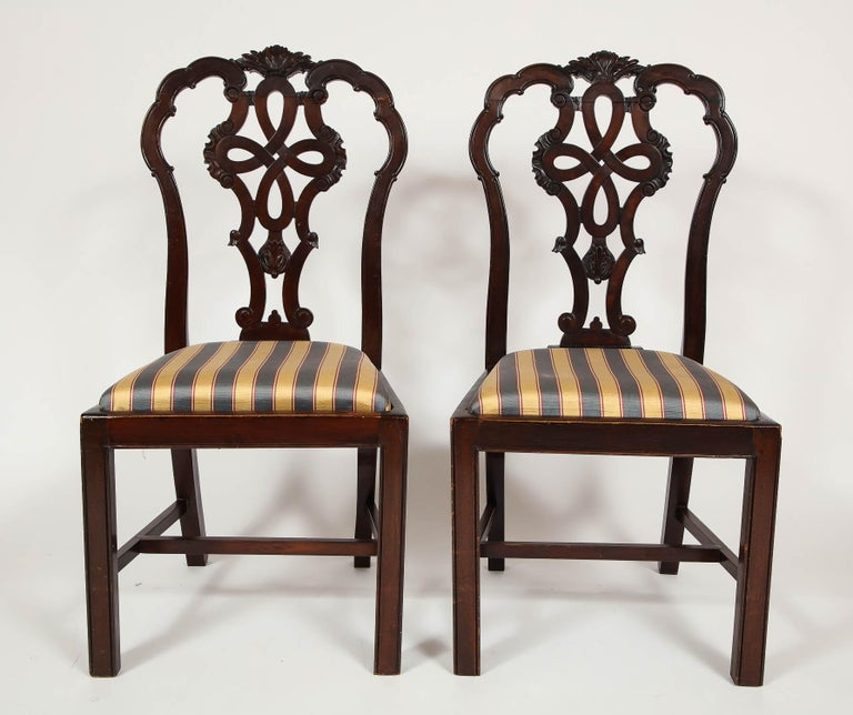 Set Of Six Hand-Carved Antique English Chippendale