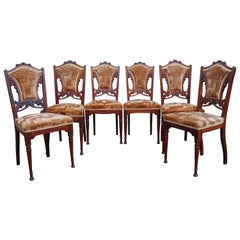 Set of Six Hand Carved Nutwood Arts & Crafts Dining Room Chairs with Upholstery