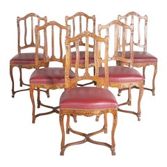 Set of Six Hand-Carved Solid Oak Louis XIV-Style Chairs