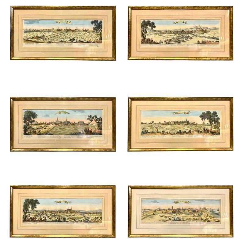 Set of Six Hand Colored Engravings of Northern France