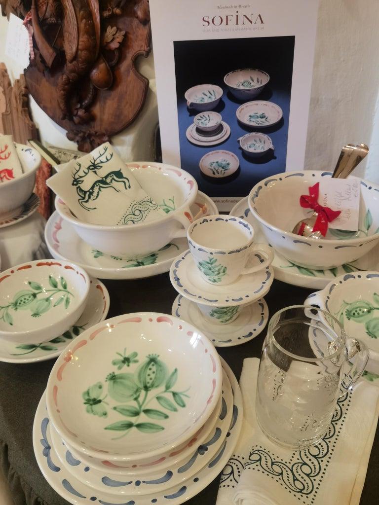 Contemporary Set of Six Hand-Painted Ceramic Dinner Plates Sofina Boutique Kitzbühel Austria For Sale