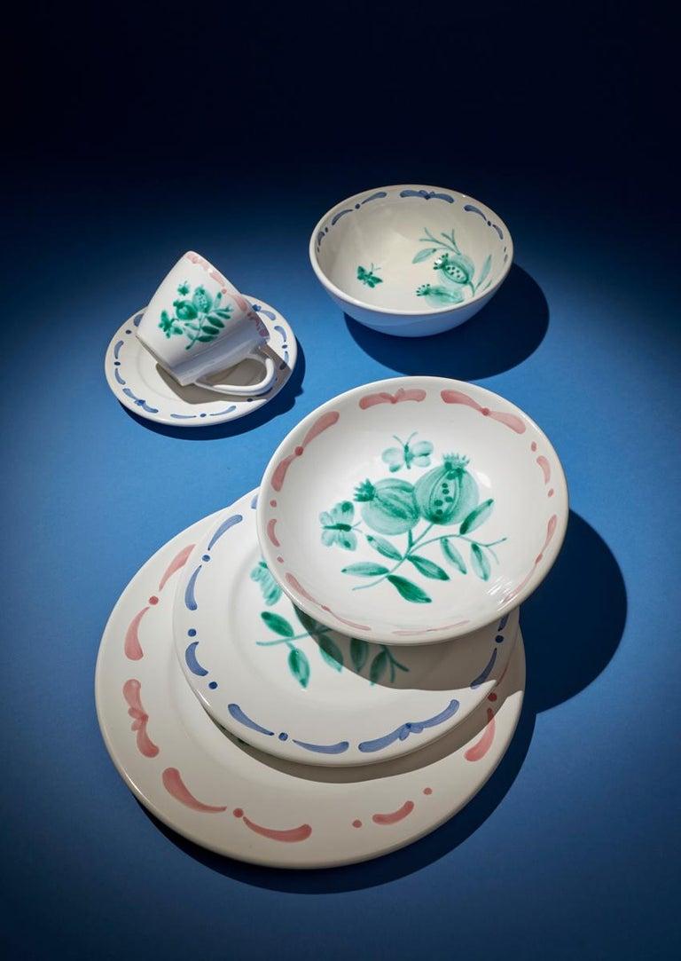 Set of Six Hand-Painted Ceramic Dinner Plates Sofina Boutique Kitzbühel Austria For Sale 3