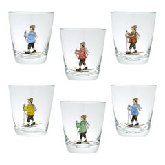 Set of Six Hand Painted Crystal Tumbler Germany Sofina Boutique Kitzbühel