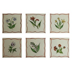 Set of Six Hand Painted Flowers Coasters / Tiles in Original Box, Denmark 1940s