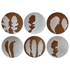 Set of Six Hand-Thrown Stoneware Salad Plates
