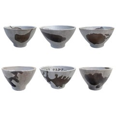 Set of Six Hand-Thrown Stoneware Soup Bowls