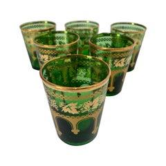 Set of Six Handblown Italian Moorish Green and Gold Glasses