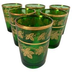 Set of Six Handblown Italian Moorish Green with Gold Shot Glasses