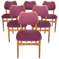 Set of Six Hans Olsen Model 107 Danish Modern Teak and Oak Dining Chairs