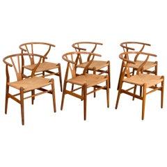 Set of Six Hans Wegner Wishbone Chairs