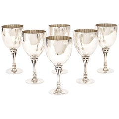Set of Six Harald Nielsen Sterlingsilver Wine Goblets Produced by Georg Jensen