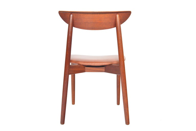 Leather Set of Six Harry Østergaard Model 58 Teak Dining Chairs For Sale