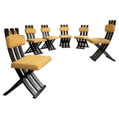 Set of Six Harvey Probber X-Base Dining Chairs