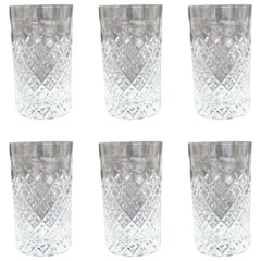 Set of Six Heavily Cut Crystal Highball Glasses