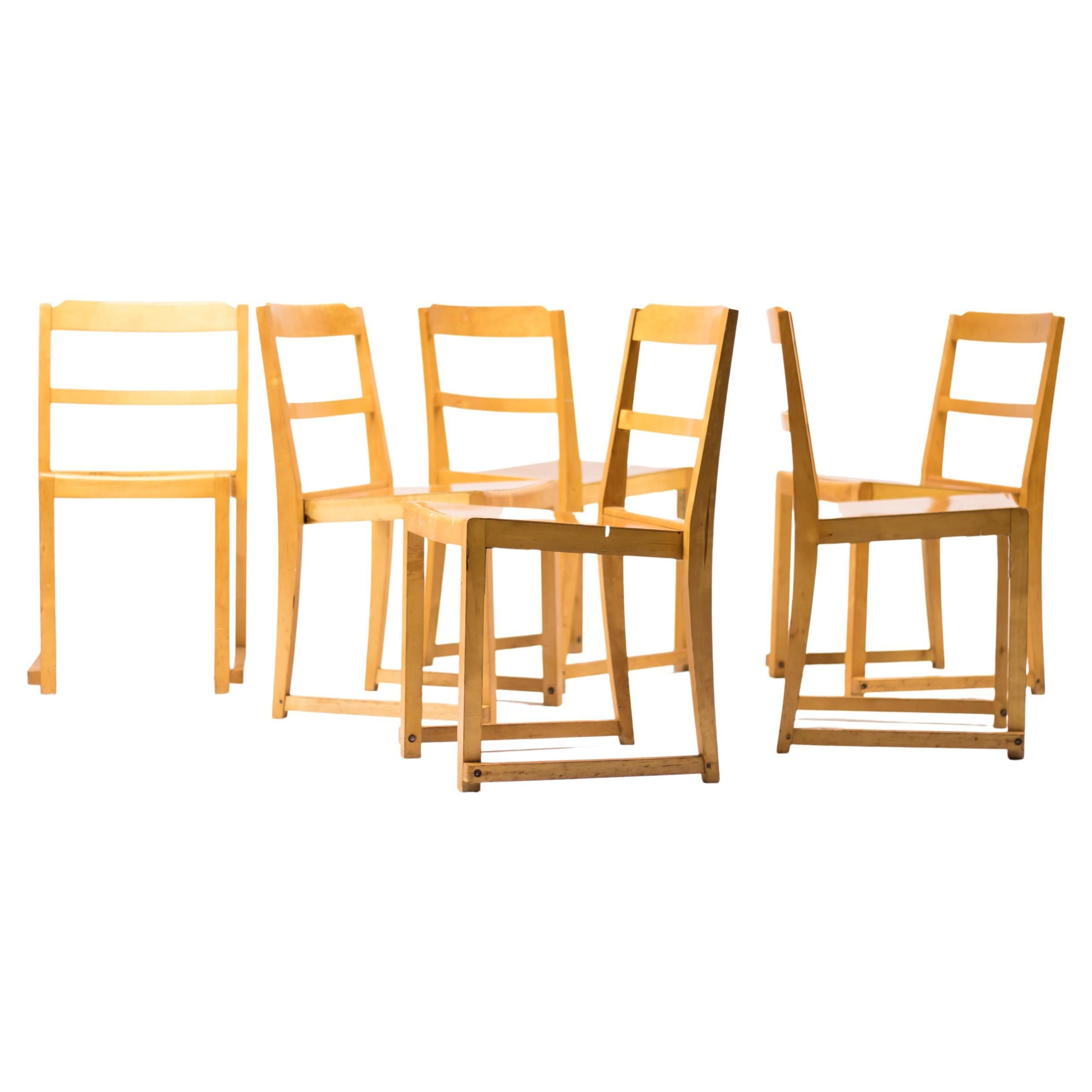 Set of Six Helsingborg Theater Chairs by Sven Markelius